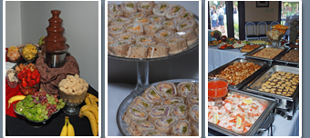 Three pictures of Panache catered buffet